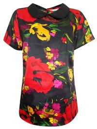 Anthology BLACK Contrast Collar Print Blouse - Plus Size 12 to 32