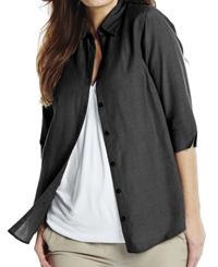 Anthology BLACK 3/4 Sleeve Linen Blend Blouse - Plus Size 14 to 30