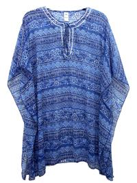 BLUE Notch Neck Printed Kaftan - FreeSize Fits 18-20-22-24
