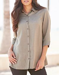 Anthology STONE Linen Blend Blouse - Plus Size 14 to 30