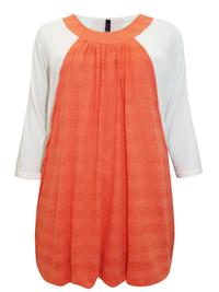 INPShop  ORANGE Burnout Stripe Layered Tunic Top - Plus Size 14 to 30/32