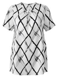 Julipa White Grid Print Pleat Neck Blouse - Plus Size 16 to 26