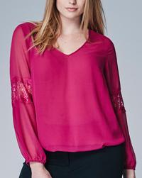 LabelBe MAGENTA V-Neck Bubble Hem Gypsy Lace Trim Top - Plus Size 18 to 22