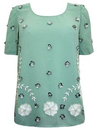 N3xt MINT Embellished Scallop Chiffon Blouse - Size 8 to 22