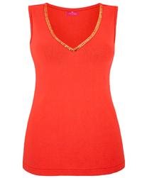 Together ORANGE Sequin Trim Jersey Vest - Size 10 to 32