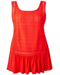 Anthology BURNT-ORANGE Crochet Front Vest - Size 10 to 22