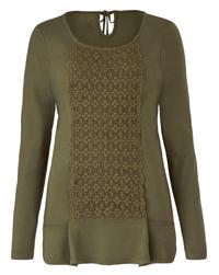 Anthology KHAKI Crochet Front Top - Plus Size 14 to 28