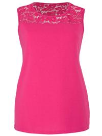 Anthology CERISE Lace Shoulder Vest - Plus Size 16 to 18