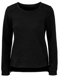 HappyHolly BLACK Rib Textured Oblong Hem Top - Size 6/8 to 26/28 (EU 32/34 to 52/54)