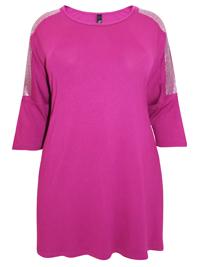 Ivans MAGENTA GLIZ Embellished Shoulder Jersey Tunic - Plus Size 16 to 30/32