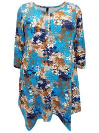 Ivans BLUE Foliage Print Trapeze Hem Tunic - Plus Size 16 to 30/32