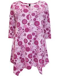 Ivans PINK Retro Floral Print Trapeze Hem Tunic - Plus Size 16 to 30/32