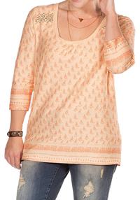 Sheego Trend ORANGE Lace Insert Border Print Cotton Top - Size 14/16 to 22/24 (EU 40/42 to 48/50)
