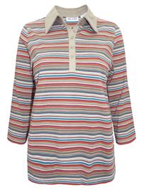 Blair BROWN Cotton Rich Horizontal Stripe Top - Size 12/14 to 16/18 (Medium to XL)