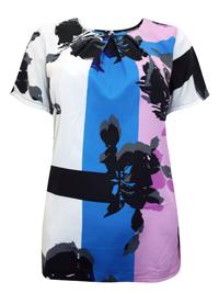 Julipa BLUE Pleat Neck Short Sleeve Blouse - Plus Size 12 to 26