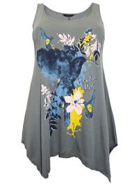 Marina Kaneva KHAKI Paradise Lost Floral Print Hanky Hem Tunic - Plus Size 16 to 30/32