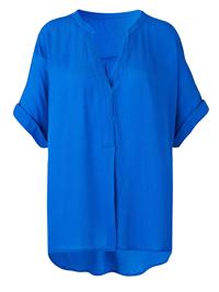 Anthology BLUE Short Sleeve Crinkle Top - Plus Size 12 to 16