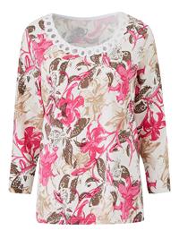 Julipa ROSE Cornelli Trim Floral Print Top - Plus Size 14 to 28