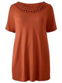 Capsule TERRACOTTA Short Sleeve Plait Trim Top - Plus Size 14 to 32