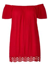 Julipa RED Crochet Hem Crinkle Gypsy Blouse - Plus Size 22 to 24