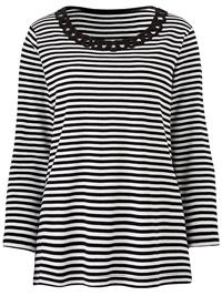 Julipa BLACK Cornelli Trim Striped Top - Plus Size 12 to 28