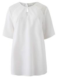 Capsule IVORY Crochet Shoulder Blouse - Plus Size 10 to 28