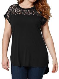 Capsule BLACK Lace Yoke Panel Dipped Hem T-Shirt Top - Plus Size 12 to 26