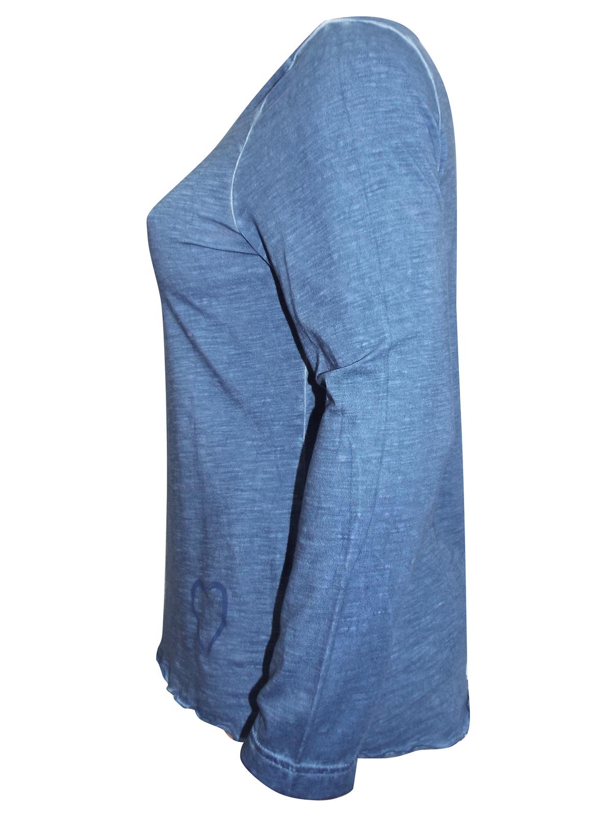 Sheego jersey cotton long sleeve oil wash light green top heart on hem plus size