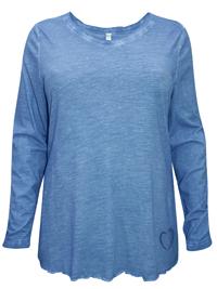 Sheego DARK-DENIM Long Sleeve Heart Hem Oil Wash Top - Plus Size 18/20 to 30/32