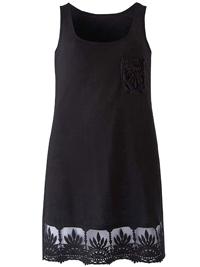 Capsule BLACK Crochet Lace Border Trim Sleeveless Top - Plus Size 12 to 32