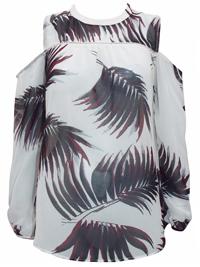 N3xt WHITE Palm Print Open Shoulder Top - Size 6 to 20