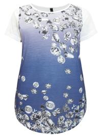 Ivans PURPLE-BLUE Ombre Diamond Print Cotton Modal Jersey Top - Plus Size 16 to 34/36