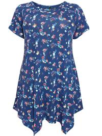 Ivans NAVY Floral Print Asymmetric Hem Jersey Tunic - Plus Size 16 to 34/36