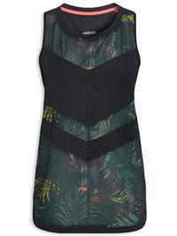 N3XT BLACK Tropical Print Mesh Panel Longline Sports Vest - Size 8 to 22