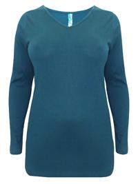 Curve GREEN Pure Cotton Longline V-Neck Top - Plus Size 16 to 30/32