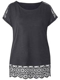 Capsule BLACK Pure Cotton Crochet Trim T-Shirt Top - Plus Size 12 to 32