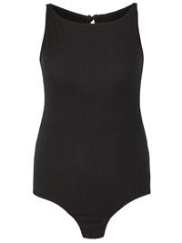 SimplyBe BLACK Sleeveless Ribbed Bodysuit - Plus Size 24