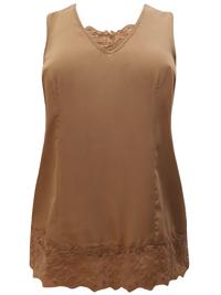Roamans Denim 24/7 CHOCOLATE Sleeveless Lace Trim Vest Top - Plus Size 12 to 32