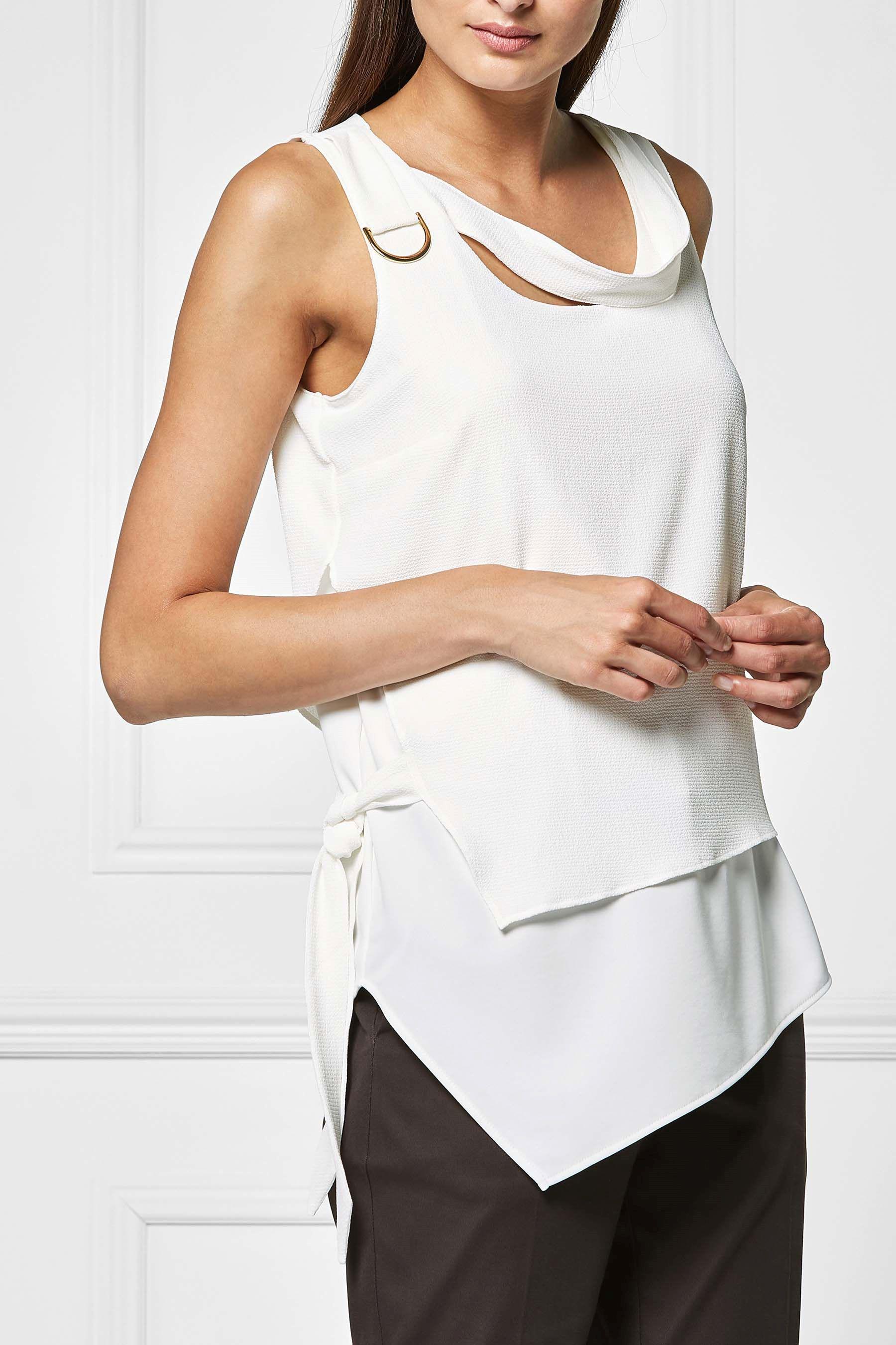 3vans WHITE Pure Cotton Ribbed Sleeveless Vest - Plus Size