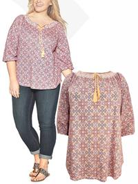 Ruff Hewn ORANGE Tile Print Smocked Gypsy Top - Plus Size 16/18 to 24/26 (1X to 3X)