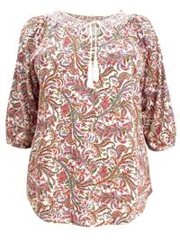 Ruff Hewn PINK Leaf Print Smocked Gypsy Top - Plus Size 16/18 to 24/26 (1X to 3X)