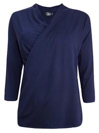Zuri DARK-NAVY Crossover 3/4 Sleeve Jersey Top - Size 12 to 18
