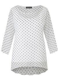 Grace WHITE 3/4 Sleeve Polka Dot Tunic - Size 12