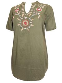 Sheego KHAKI Pure Cotton Folk Embroidered Top - Plus Size 14 to 32