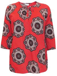 Ulla Popk3n ORANGE Pure Cotton Kaleidoscope Floral Top - Plus Size 16/18 to 36/38