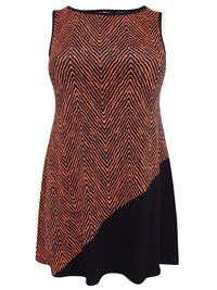 Amy K. ORANGE Sleeveless Print Panelled Top - Plus Size 16 to 26