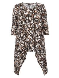 Amy K. BLACK Swirl Print Hanky Hem Tunic - Plus Size 16 to 26