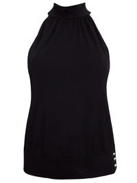 BLACK High Neck Sleeveless Top - Size 6 to 18