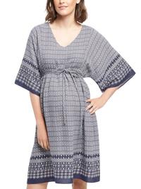Motherhood Maternity NAVY Border Print Half Sleeve Dress - Size Small to Large