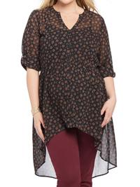 Motherhood Maternity BLACK Convertible Sleeve Blouse - Size XLarge